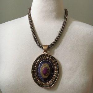 CHICO'S Purple Stone Pendant Rope Necklace